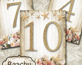 BEACHY•Wedding Table Number•5x7•Printable•Weddings•Parties•Bridal Shower•Baby Shower•Seating Numbers•Wedding Decoration