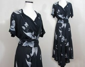 Floral bias skirt dress - 1940s gathered bodice, swaying skirt - large arrowleaf floral on black rayon chiffon - M