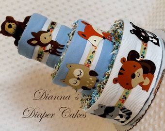 Baby Diaper Cakes Woodland Animals Boys Shower Gift or Centerpiece