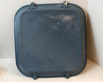 Vintage aluminum lid to container spray painted one side SOLD AS IS for parts cake pan