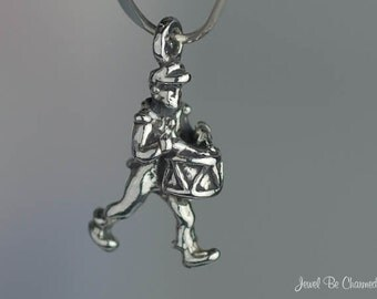 Miniature Sterling Silver Marching Band Drummer Charm Drum Tiny .925