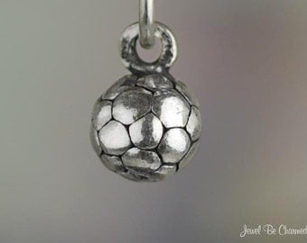 Miniature Sterling Silver Soccer Ball Charm Small Tiny 3D Solid .925