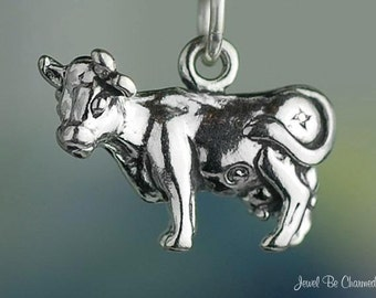 Sterling Silver Cow Charm Cows Dairy Farm Barnyard Animal 3D Solid 925