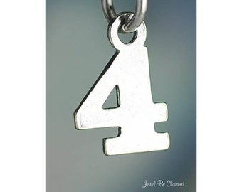 Small Number Four Charm Sterling Silver Numeral 4 Digit Solid .925