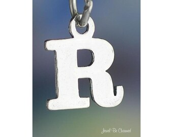 Sterling Silver Small Letter R Charm Initial Capital Letters Solid 925