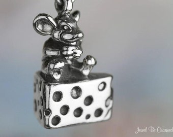 Mouse Charm Sterling Silver Cute Mice Swiss Cheese Wedge 3D Solid .925