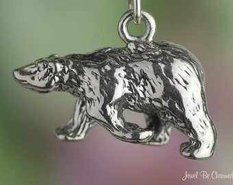 Sterling Silver Walking Polar Bear Charm Bears Arctic 3D Solid .925