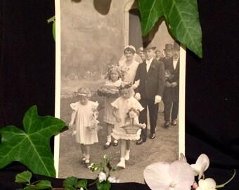 Real Photo Postcard - Antique Wedding Photo - Flower Girls - Top Hat