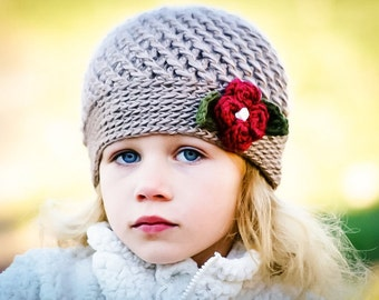 Crochet hat pattern, Crochet Pattern, The Winter Blossom Hat in Six Sizes, Crochet Hat Patterns, Girls Crochet Pattern, DIY Hat Pattern,
