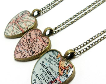 Personalized Heart Vintage Map Necklace. You Pick City, State, or Country Worldwide. One Necklace. Anniversary or Wedding Gift For Her.