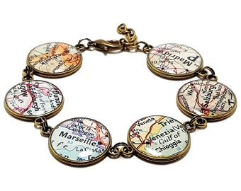 Custom Vintage Map Bracelet. You Select Six Locations. Anywhere In The World. Map Jewelry. Gifts For Her. Christmas Stocking Stuffer Gift.