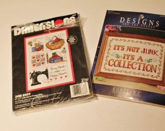 Two Cross Stitch Patterns 5 x 7 Its Not Junk Its a Collection and Sew Busy Busy Hands Make Happy Hearts