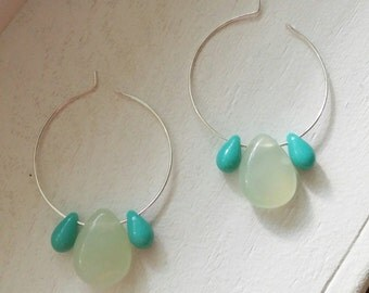 Turqoise and Light Green Beaded Hoops
