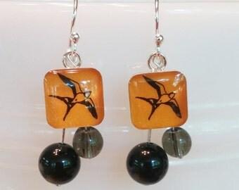 Orange bird enamel beaded earrings