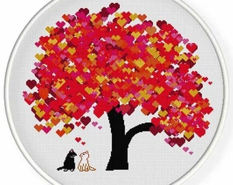INSTANT DOWNLOAD,Free shippingCounted Cross-Stitch PDF,cats in love,valentine's day, wedding,zxxc0956