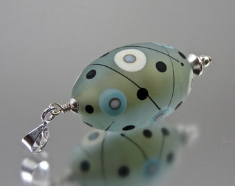 Lampwork and sterling silver pendant in pale blue and turquoise OOAK