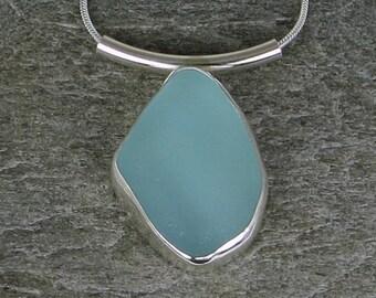 Aqua Sea Glass Bezel Pendant Necklace