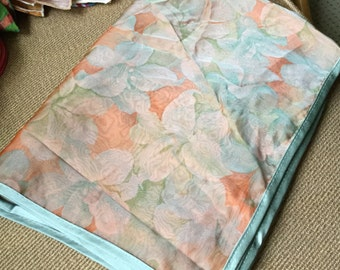 Vintage Silk Sheer Floral Wrap or Scarf With Pale Blue Satin Binding With Tropical Flowers in Peach Orange Lilies