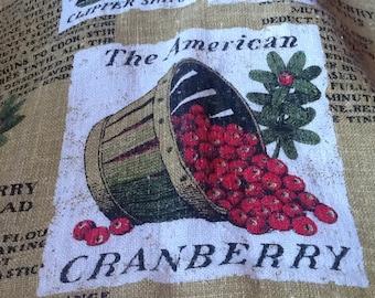 Vintage Cape Cod Cranberry Cranberries Tea Towel Recipes