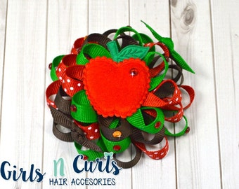 Boutique Style Loopy Flower Girls Hairbow Apple Picking