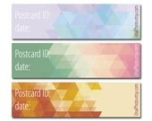 Postcard ID and DATE stickers, Postcard stickers for Postcrossers, Geometric ornament set, Hipster set. Set of 30