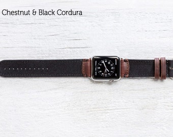 The Field Strap for Apple Watch - Chestnut and Black Cordura With Silver hardware 42mm