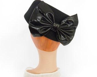 1960s tilt hat, black with large bow, Miss Bierner