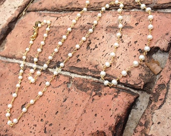 Pearl Rosary Chain Necklace