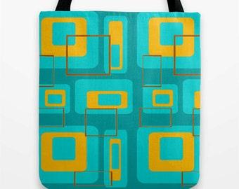Retro Tote Bag, Modern Tote Bag, Mid Century Tote Bag, Mod Tote, Beach Tote, Cool Tote Bag, Shopping Bag, Colorful Tote Bag, Shopping Tote