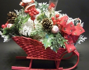 Fall Sale Wicker Sleigh Christmas Floral Picks with Santa Pick