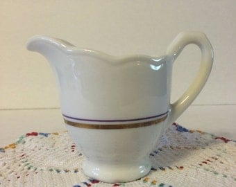 Fall Sale Syracuse China LL-6 Restaurant Creamer Gold and Purple Trim VGC White