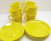 23 Pc Vintage Melmac Texas-Ware~Dessert Plates Cup and Saucers Texas Ware~1950's Melamine Melmac Bright Yellow Texas-Ware Dishes
