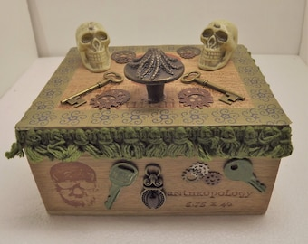 Altered Art Steampunk Cigar Box~Steampunk Wooden Treasure Box~