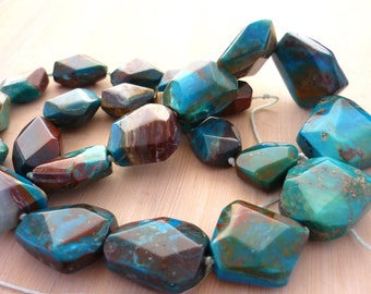 Super quality blue peruvian opal nugget beads 12-21mm 1/2 strand