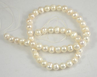 """53beads 14""""  Baroque  Freshwater pearl white Cultured Pearl 6mm-7mm Gemstone Beads Full One Strand , Real pearl strand, loose pearl beads"""