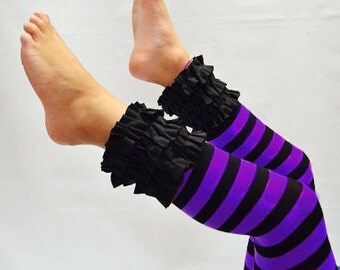 Black and purple striped ruffled footless tights