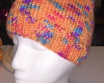 Hand Knitted Orange Acrylic Hat