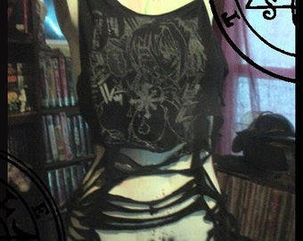 Chaos Hentai Slashed Long Line Dress Top