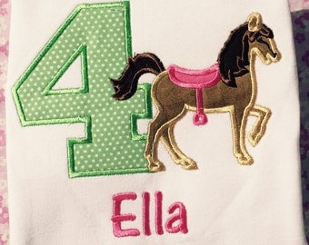 Personalized Boutique Horse Birthday Shirt