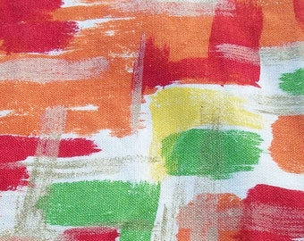Vintage French 1950s Abstract Painter Artist Fabric Brush Stroke Material