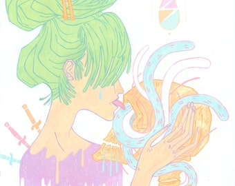 Mutual / 11 x 14 in. art print // hipster pastel goth skull snakes love