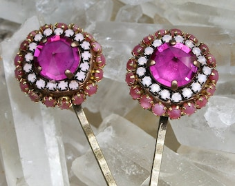 Jeweled Bobby Pins Pair Crystal Rhinestone Statement Bobby Pins in Shades of Pink Hair Jewelry - Pink Point Spikes