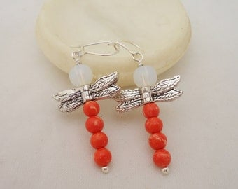 Coral and Opolite Dragonfly Earrings, Dragonfly Earrings, Sterling Silver, Gemstone Earrings, Pink Dragonfly Earrings