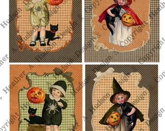 Vintage Halloween Pumpkin  Witch Card Front DIY Victorian Digital Collage sheet Printable DIY Tags