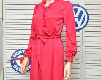 Vintage Womens Dress 70s/Ruby Hot Pink/Raspberry Red/Matching Ribbon Belt/Sears Fashion Place/Qiana Nylon/Secretary/Petite Small Juniors