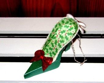 Paper Shoe Ornament, Green Holly Miniature High Heel Paper Shoe Christmas Ornament