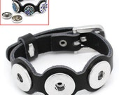1pc. Black REAL Leather Chunk Snap Noosa Button Smooth Bracelet with Belt Buckle - 10 1/4 in (26 cm)