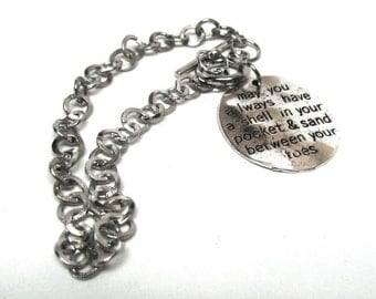 1 pc. Silver Tone Chain Link Bracelet with Toggle Clasp and Beach Inspirational Charm - 8 5/8 in (22 cm)