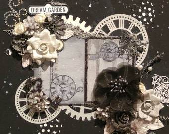 Dream Garden Mixed Media Collage Canvas 11 X 14 Framed Black and White Ready to Hang