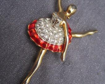Ballerina brooch, rhinestone ballerina, red ballerina brooch, vintage ballerina